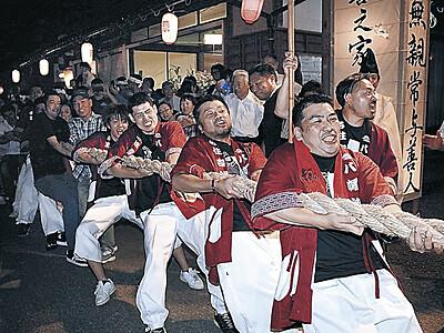 山方が勝ち「今年は豊作」 志賀・堀松の綱引き祭り