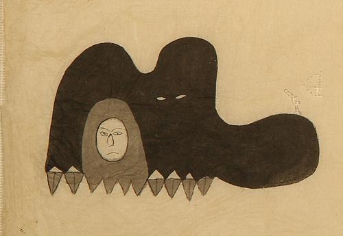 顔が人で体が獣の姿をしているクタベの肉筆画。企画展で初公開されている