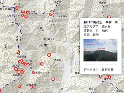北ア・八ケ岳...過去の遭難、地図上に表示 県警・ヤマレコ協力