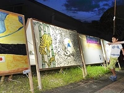 商店前輝く「あんどん絵」 越前町・朝日地区で展示