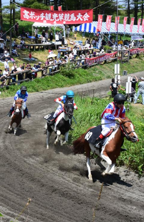 子どもが乗ったポニーも全力疾走した高ボッチ高原観光草競馬大会