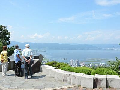 諏訪湖一望、定額タクシー 上諏訪駅と立石公園往復