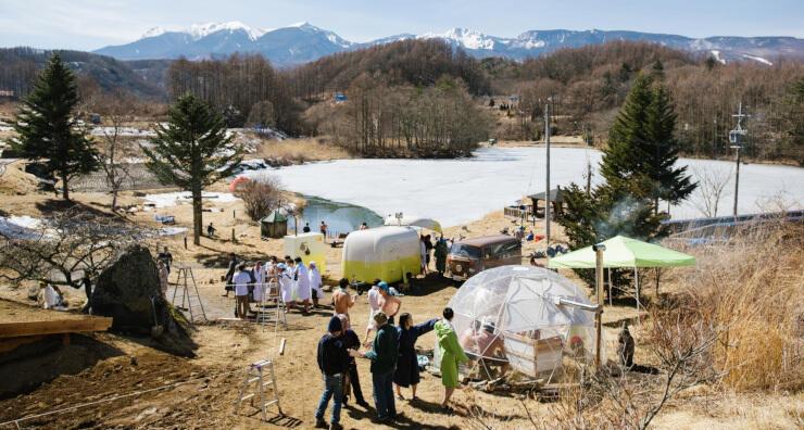 昨年3月に行われたサウナフェス。凍った長湖の近くにサウナが特設された