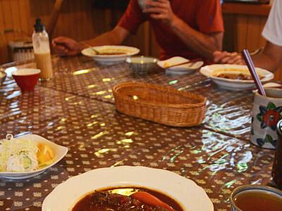 南アで駆除の鹿肉シチュー 北ア・三俣山荘の夕食に