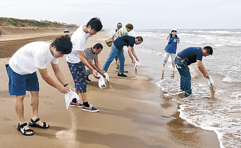 砂浜の再生を願って砂をまく参加者=羽咋市の千里浜海岸