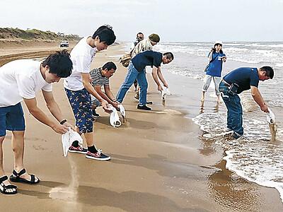 千里浜再生願い 千人で砂まき