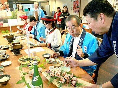 新潟県の「食」夕食で 宿泊施設おもてなし DC新企画