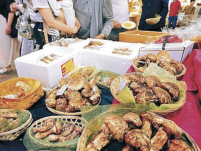 マツタケ、秋の香 金沢・近江町市場、海外産並ぶ
