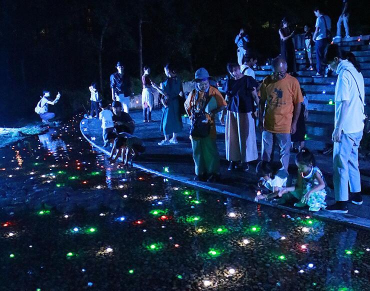 LEDやキャンドルでライトアップされ、幻想的な雰囲気に包まれたまんだら遊苑