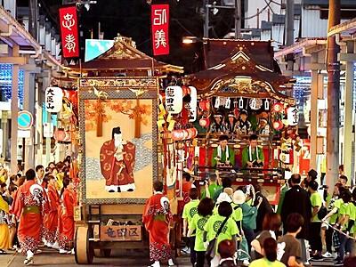 放生祭が開幕 小浜、山車に提灯、風情