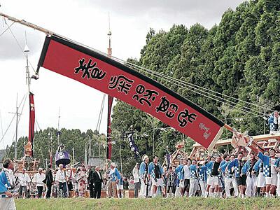 妙技「島田くずし」に歓声 中島でお熊甲祭