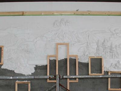 御嶽山登山道、休憩所に鏝絵 木曽のデザイナー