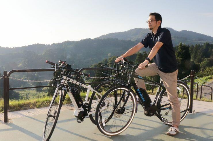 やまこし復興交流館おらたるで貸し出している電動アシスト付き自転車=長岡市山古志竹沢