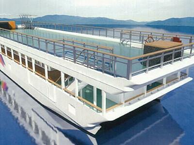 諏訪湖新遊覧船「スワコスターマイン号」に 15日進水式