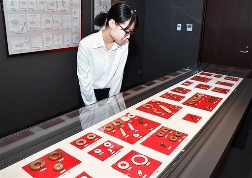 桑野遺跡の出土品685点を一括展示している企画展=福井県あわら市郷土歴史資料館