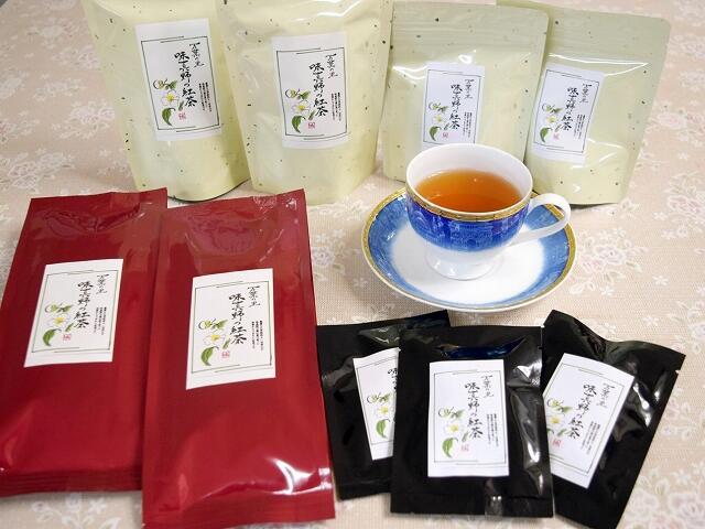 福井県越前市味真野地区の茶葉で作られた紅茶=同市味真野公民館
