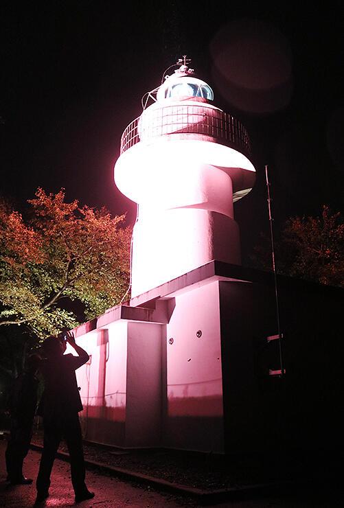ピンク色にライトアップされた岩崎ノ鼻灯台