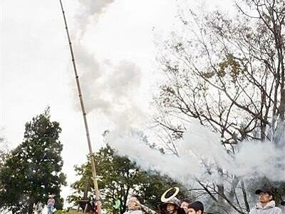 岐阜→滋賀→福井 のろし高々と34カ所リレー