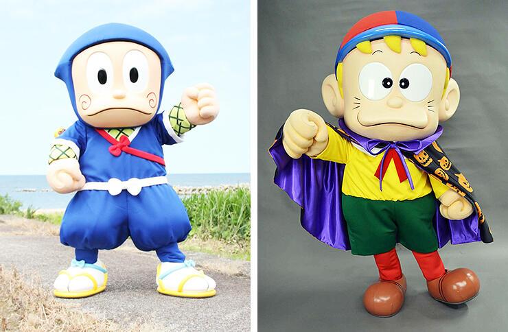 ハロウィーン柄のマントを身に着けた怪物くん(右)キャラクターグリーティングに登場する忍者ハットリくん(左)