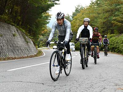 自転車で山間巡るツアーを 岡谷・辰野・塩尻のコース試走