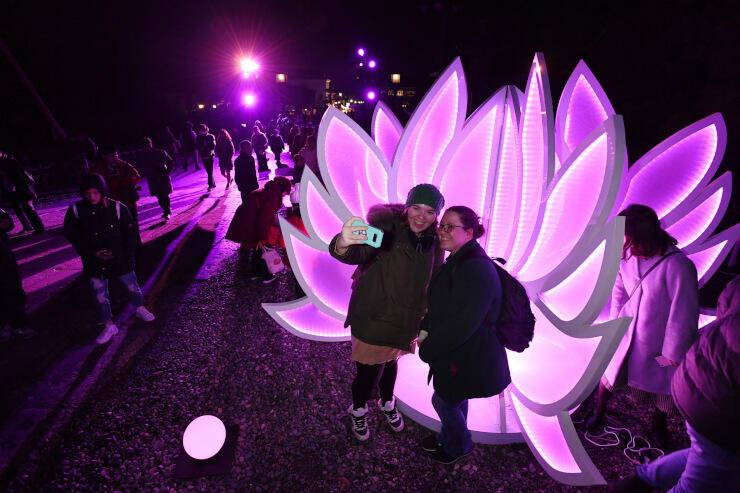 昨年のイベントで、善光寺境内に飾られたハス形のイルミネーション