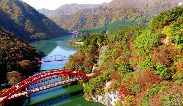 モミジやナラなどが色付き、秋の深まりを感じさせる荒川峡=31日、関川村金丸