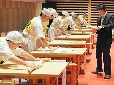そば打ち自慢が腕競う 福井で全日本素人名人大会