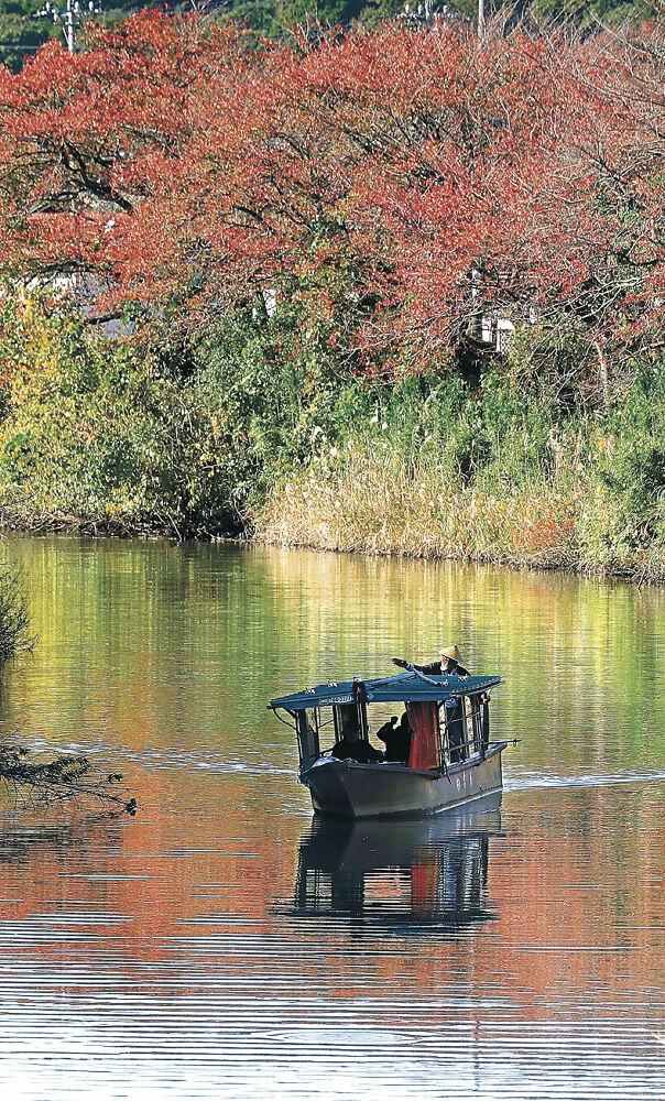 紅葉が映る水面を進む流し舟=加賀市の旧大聖寺川