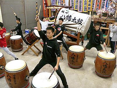 太鼓練習に熱 10日、日本ジュニアコンクール県大会