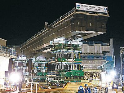 国道上に760トン巨大橋梁 小松の交差点 新幹線工事で国内最大クラス
