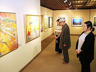 歴代大賞作品含む47点 朝日町美術展記念展