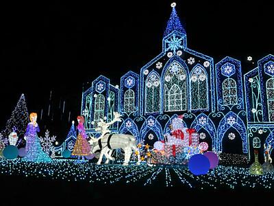 夜を染める電飾きらびやか 佐久に「氷の城」出現