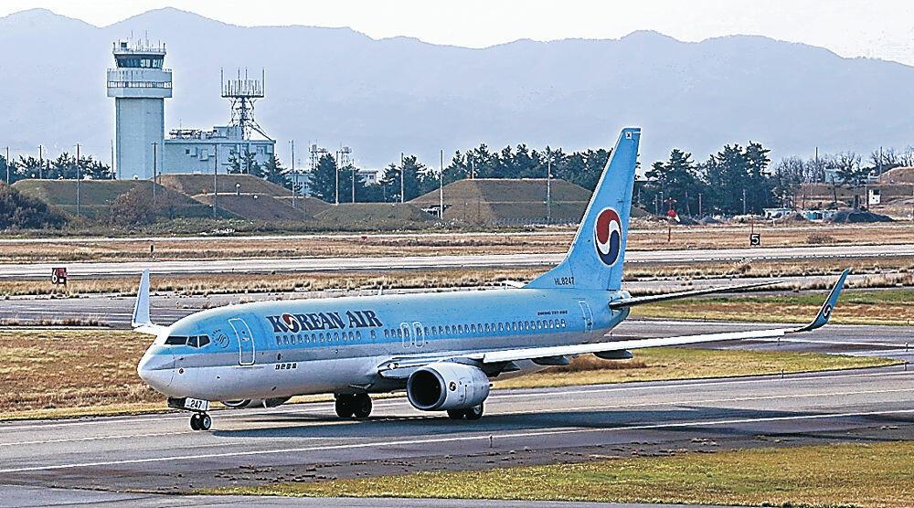 小松空港に到着したソウル便
