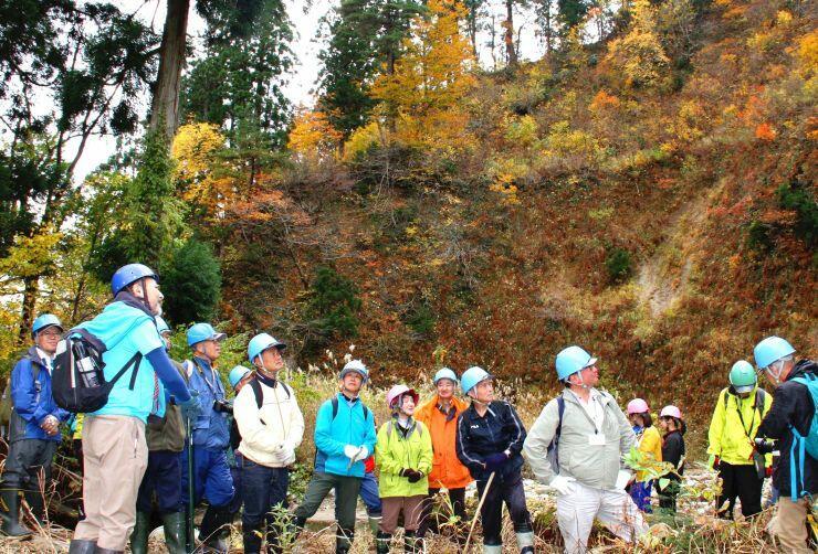参加者が希少な天然杉などを見学した国有林内の自然観察会=阿賀町中ノ沢