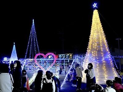 冬の夜彩るボトルツリー 住民手作り、点灯 福井・小浜