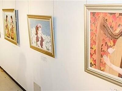 元福井大学長、児嶋さん個展 人、花など日本画華やかに