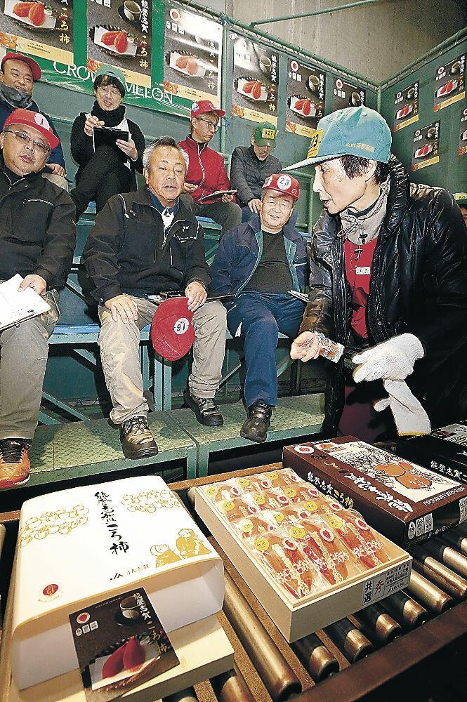 20万円で競り落とされた能登志賀ころ柿=金沢市中央卸売市場
