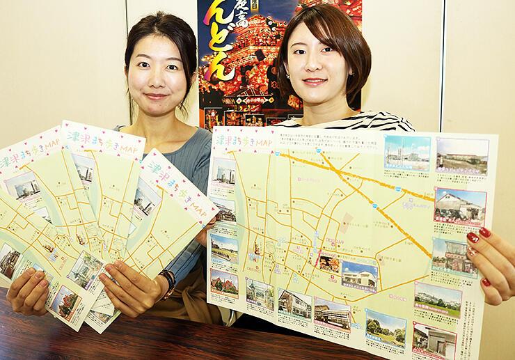 地区の名所を紹介する「津沢まち歩きMAP」