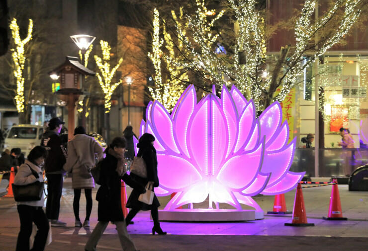 中心市街地を彩るハス形のイルミネーション=11日午後5時25分、長野市問御所町