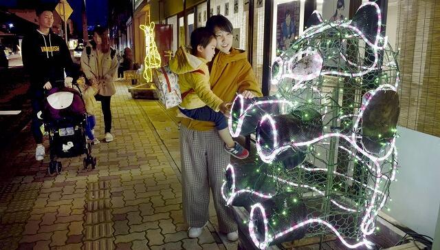総社通り商店街に設置された動物のイルミネーション=12月11日夜、福井県越前市京町1丁目