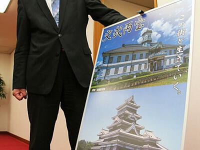 松本の国宝二つ「文武両宝」 特製ポスターに