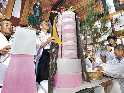 藩主に献上の鏡餅を再現 金沢の田井菅原神社