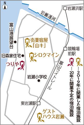 富山市岩瀬地区の地図