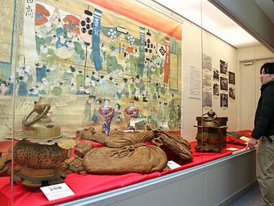 「松本あめ市」彩る道具 歴史紹介 市時計博物館で企画展