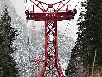 ロープウエー支柱の脚変形 中央アルプス 雪影響か 2カ月運休も