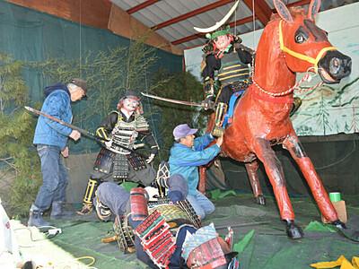 政宗力強く、山車飾り作り 箕輪南宮神社、11・12日初祭り
