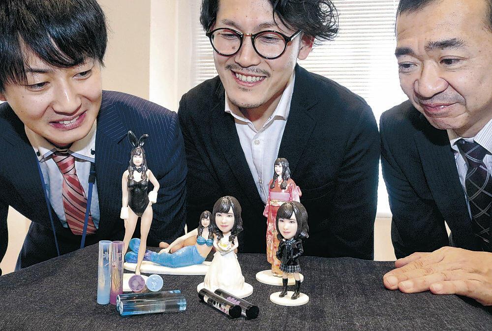 3Dプリンターで制作されたオリジナルフィギュア=加賀市内