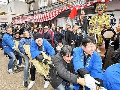 敦賀で伝統の夷子大黒綱引き 大黒に軍配で今年は豊作