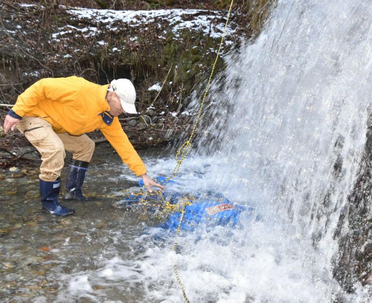袋に小分けしたソバの実を粟沢川に浸す高遠そば組合のメンバー