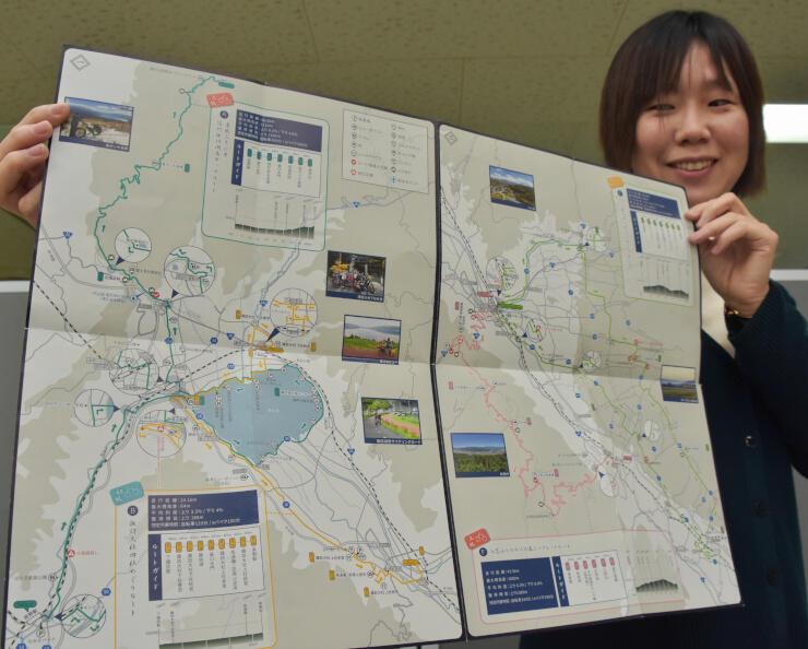 増刷を予定するサイクリングマップ。計6ルートが載っている